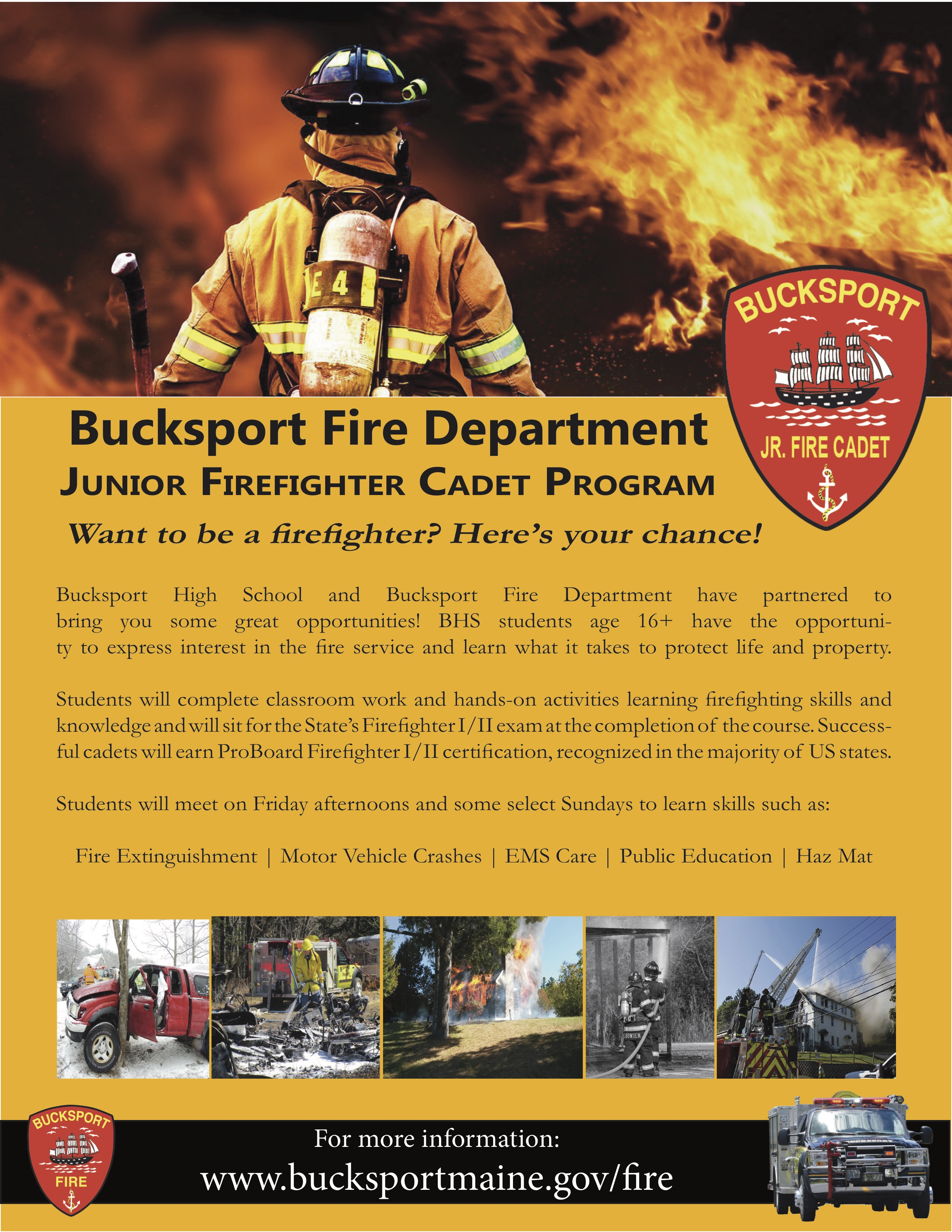 Firefighter Iii Cadet Program Town Of Bucksport Maine
